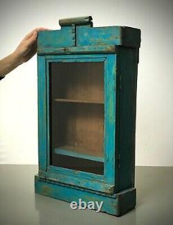 Antique Vintage Indian Cabinet. Art Deco. Display / Bathroom. Turquoise & Jade