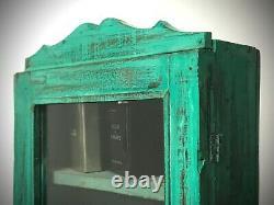 Antique Vintage Indian Cabinet. Art Deco. Display / Bathroom. Vibrant Jade