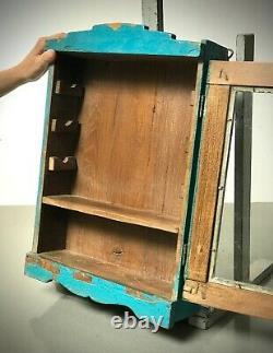 Antique Vintage Indian Cabinet. Art Deco. Display/bathroom. Distressed Turquoise