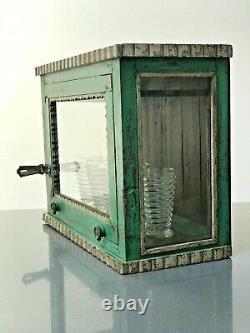 Antique Vintage Indian Cabinet. Art Deco, Glass To 3 Sides. Up & Over Front Door