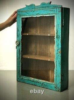 Antique Vintage Indian Cabinet. Art Deco. Large. Display / Bathroom. Turquoise