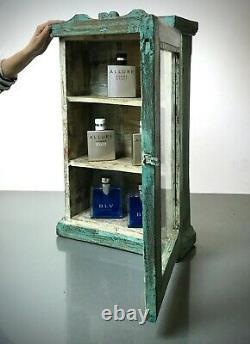 Antique Vintage Indian Cabinet. Art Deco. Large Display/bathroom. Pale Turquoise