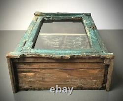 Antique Vintage Indian Cabinet. Art Deco. Large Display/bathroom. Teal Turquoise