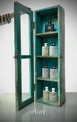 Antique Vintage Indian Cabinet, Art Deco. Long, Tall Display/bathroom. Turquoise