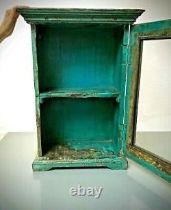 Antique Vintage Indian Cabinet, Art Deco. Substantial, Display / Bathroom. Teal