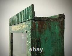 Antique Vintage Indian Cabinet. Emerald & Vanilla, Art Deco. Display, Bathroom