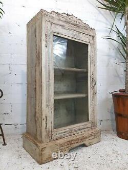 Antique Vintage Indian Cream Wooden Glazed Display Bathroom Kitchen Cabinet