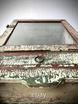Antique Vintage Indian Display Cabinet. Art Deco. Vanilla & Green With Drawer