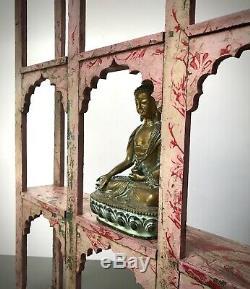 Antique Vintage Indian Furniture. Huge Mughal Arch Display Unit. Baby Pink & Red