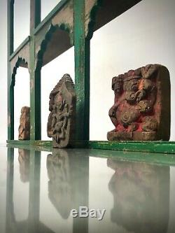 Antique Vintage Indian Furniture. Huge Mughal Arch Display Unit. Green & Pink