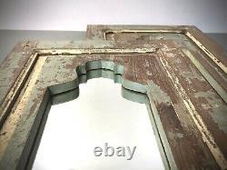 Antique Vintage Indian Mirror, Mughal Arch. Pale Teal, Vanilla, Turquoise Teak