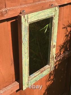 Antique Vintage Indian Mirror Solid Teak Frame Jade Turquoise Yellow Blue 1