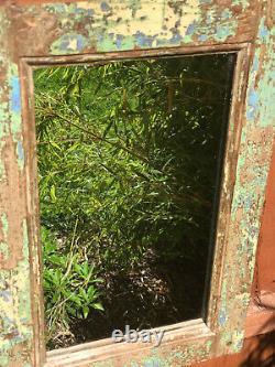 Antique Vintage Indian Mirror Solid Teak Frame Jade Yellow Turquoise Blue 2