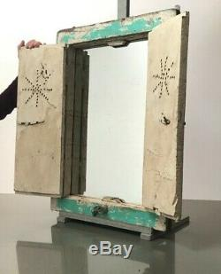 Antique Vintage Indian Reclaimed Shuttered Window Mirror. Jade & Peppermint