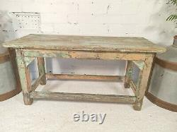 Antique Vintage Indian Rustic Wooden Flaky Blue Green Pink Painted Coffee Table