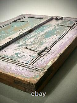 Antique Vintage Indian Shuttered Window Mirror. Distressed Two-tone Lilac & Teal