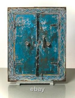 Antique Vintage Indian Shuttered Window Mirror. Faded Turquoise, Lilac & Yellow