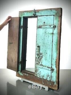 Antique Vintage Indian Shuttered Window Mirror. Vintage. Baby Blue & Jade