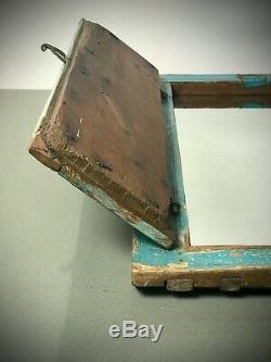 Antique Vintage Indian Shuttered Window Mirror. Vintage. Turquoise, Baby Blue