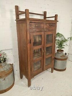 Antique Vintage Indian Solid Wooden Glazed Display Bathroom Kitchen Cabinet