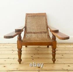 Antique Vintage Indian Teak Rattan Colonial Planter's Plantation Lounge Chair