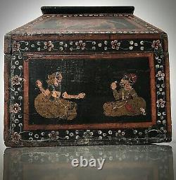 Antique / Vintage Indian Teak Storage Box. Rajput Miniature School Of Painting