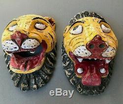 Antique Vintage Indian Tiger Mela Mask. Used In Re-enactments Of Epic Poems