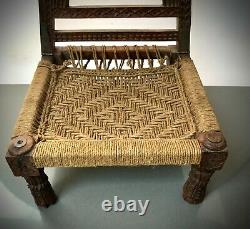 Antique Vintage Indian Wooden Furniture. Traditional Tribal Pidha Low Chair