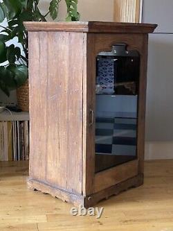 Antique Vintage Indian Wooden Glazed Display Bathroom Kitchen Cabinet