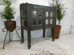 Antique Vintage Indian Wooden Glazed Display Drinks Bathroom Kitchen Cabinet