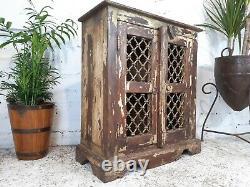 Antique Vintage Indian Wooden Iron Jali Display Bathroom Kitchen Cabinet