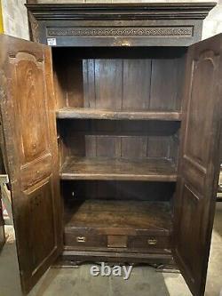 Antique Vintage Indian Wooden Kitchen Bedroom Cupboard Cabinet Almira
