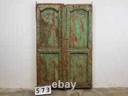 Antique Vintage Indian Worn Paint Wooden Door MILL-573