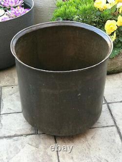 Antique Vintage Large Brass Planter Log Bin Pot Jardinaire Hand Beaten Riveted