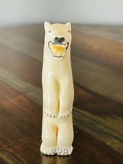 Antique Vintage Native American Indian Inuit Carved Polar Bear Figure Eskimo