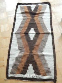 Antique Vintage Navajo Indian Burntwater Natural Dazzler Rug Blanket Runner
