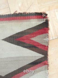 Antique Vintage Navajo Indian Rug Blanket Weaving Crystal Post Transitional