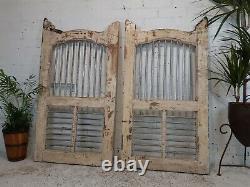 Antique Vintage Pair Reclaimed Indian Wooden Jali Dog Garden Interior Gates Door
