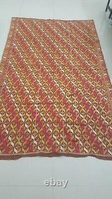 Antique Vintage Phulkari East Punjab Indian Silk Embroidered Wedding Shawl 9656