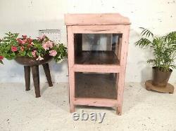 Antique Vintage Pink Indian Solid Wooden Glazed Display Kitchen Bathroom Cabinet
