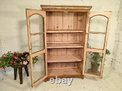 Antique Vintage Pink Indian Solid Wooden Glazed Display Kitchen Pantry Cabinet