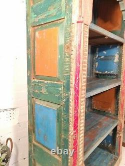 Antique Vintage Reclaimed Hand Carved Colourful Indian Shelving Unit Bookcase