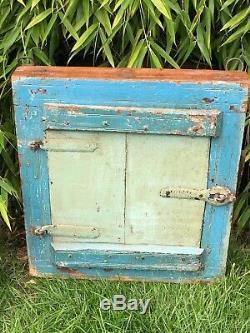 Antique Vintage Reclaimed Indian Shuttered Window Mirror Eau De Nil Turquoise