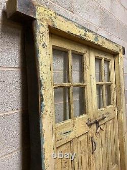 Antique Vintage Rustic Indian Glass Panel Wooden Door With Frame