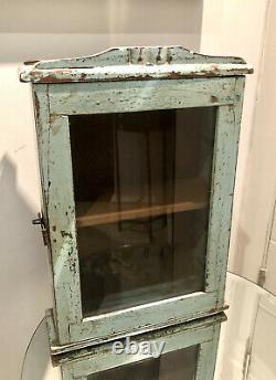 Antique Vintage Salvage Indian Arched Mughal Art Deco Glass Door Cupboard