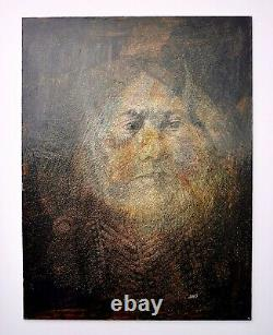 Antique Vintage Signed HMS Native American Indian Portrait Oil Painting