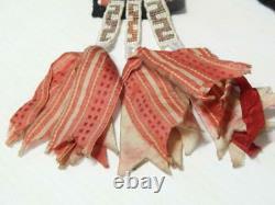 Antique Vintage Winnebago Woodlands Loom Beaded Indian Sash / Drop Silk Ribbon