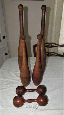 Antique/Vintage Wooden Indian Circus / Exercise Juggling Pins & Dumbbells