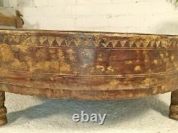 Antique Vintage Wooden Indian Furniture Spice Grinding Chakki Table Coffee Table
