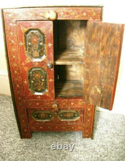 Antique Vintage solid wood hand crafted small side Cabinet Tibetan / Indian